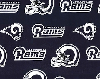 Los Angeles Rams Fabric By The Cut | DIY Mask | 100% Cotton | NFL Football | Helmet | Navy Blue | White | Fat Quarter | 1/2 Yard | 1 Yard