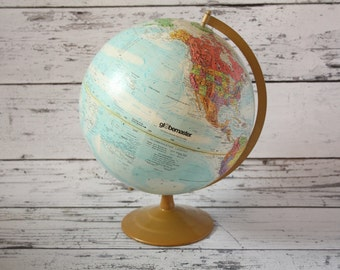 "Vintage Globemaster Globe World Map Light Blue Colored Brass Color Metal Base Earth Spinning 12"" Inch Diameter World Classic Topographical"