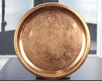 Vintage Floral Copper Serving Tray