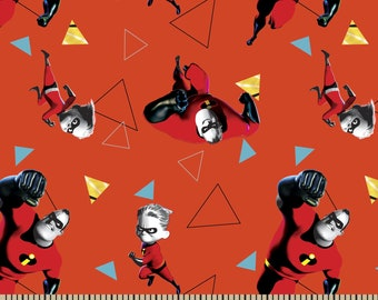Disney Pixar Incredibles 2 Fabric By The Cut | DIY Face Mask | 100% Cotton | White | Red | Orange | Fat Quarter | 1/4 Yard | 1/2 Yd | 1 Yard