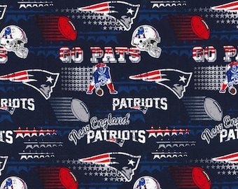 New England Patriots Fabric By The Yard | DIY Face Mask | Cotton | NFL Football | Blue | White | Red | Fat Quarter | 1/2 Yard | 1 Yard