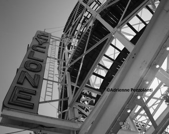 Brooklyn Cyclone Photography Coney Island Beach Rollercoaster Photo Black & White Image New York City Photograph NYC