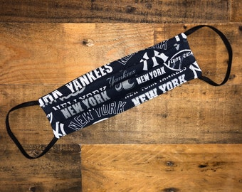 NY Yankees Writing Face Mask | MLB | Baseball | New York  | 100% Cotton | Double Layer | Children's Mask | Adult Mask | Blue | White | NYY