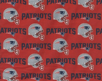 New England Patriots Fabric By The Cut | DIY Mask | 100% Cotton | NFL Football | Grey Helmet | Fat Quarter | 1/4 Yard | 1/2 Yard | 1 Yard