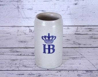 Vintage German HB Beer Stein 1970s Pottery Mug Made in Germany Oktoberfest Pottery 1 Liter Stoneware Blue & Beige Crown Hofbräuhaus
