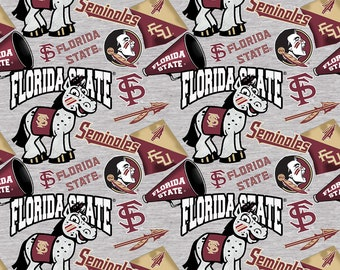 Florida State Seminoles Fabric By The Yard | DIY Face Mask | Cotton | Grey | White | Burgundy | Fat Quarter | 1/2 Yard | 1 Yard | College