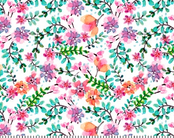 Wildflower Fabric By The Cut | DIY Face Mask | 100% Cotton | Pink | Green | White | Fat Quarter | 1/4 Yard | 1/2 Yard | 1 Yard