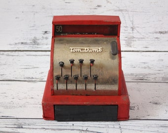 Vintage Red Metal Tom Thumb Toy Children's Cash Register Money Dollar Coin Bank Chrome Painted Steel Body Plastic Cash Drawer