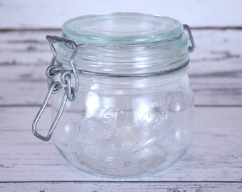 Le Parfait Vintage Canister Small Clear Glass Mason Container Embossed Wire Bail Lid Kitchen Organization Canning Jar Made In France 0,50 L