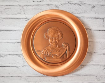"""Vintage Solid Copper Normal Rockwell Buttergirl Wall Plate Hanging Young Woman With Butter Embossed In Piece The Continental Mint Inc 8"""""""