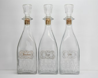 Vintage Set of 3 Glass Decanters