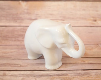 Vintage Naaman Fine Porcelain Elephant Small Sized Figurine Pure White Figure Made In Israel Sculpted Animal Original Design Hand Casted