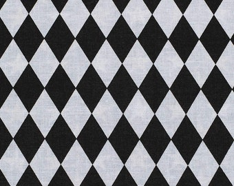 Black & White Harlequin Fabric By The Cut | DIY Face Mask | 100% Cotton | Diamond | Checkers | Fat Quarter | 1/4 Yard | 1/2 Yard | 1 Yard