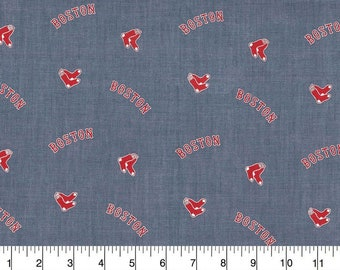 Boston Red Sox Chambray Fabric By The Cut | DIY Face Mask | 100% Cotton | MLB Baseball | Blue | White | Fat Quarter | 1/2 Yard | 1 Yard