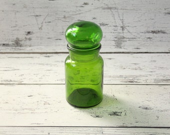 Vintage Apothecary Emerald Green Glass Bottle Medium Size Glass Jar Container Made in Belgium Kitchen Bathroom Craft Storage Bubble Top