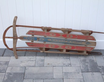 Vintage Wood Snow Sled Royal Racer Children's Toy Red Metal Handle Steering Red & Blue Painted Graphics Crown Wooden