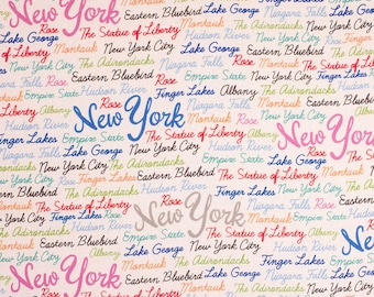 New York Words Fabric By The Cut | Cotton DIY Face Mask | NYC Empire State | Statue Of Liberty | Montauk | Fat Quarter | 1/2 Yard | 1 Yard