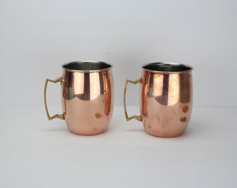 Vintage Extra Large Solid Copper Moscow Mule Cups | Set of 2 | Brass Handles