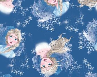 Frozen 2 Elsa Toss Fabric By The Cut | DIY Face Mask | 100% Cotton | Disney | Blue | White Snow | Fat Quarter | 1/4 Yard | 1/2 Yard | 1 Yard