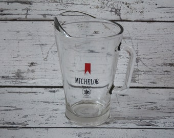 Vintage Michelob Beer Pitcher Vintage Bar Advertising Glass Red Black Writing Barware Home Bar Liquor Container Drinks Cocktails Soda