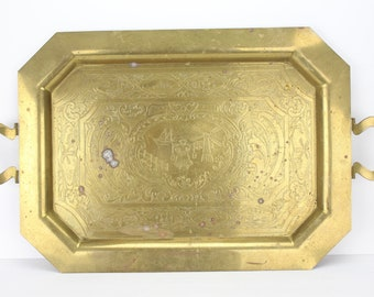 Vintage Large Brass Serving Tray | Rectangular Octagon