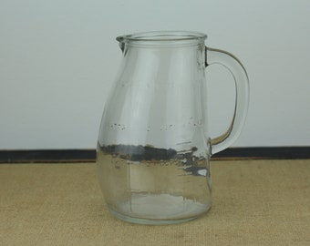 Vintage Glasco Glass Measuring Jug Cup Clear Bellowed Body Embossed Writing 4 Cups Baby Products Kitchen Storage Decor Formula Pitcher