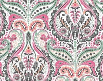 Vibrant Damask Fabric By The Yard | DIY Face Mask | 100% Cotton | White  | Grey | Pink | Orange | Fat Quarter | 1/4 Yard | 1/2 Yard | 1 Yard