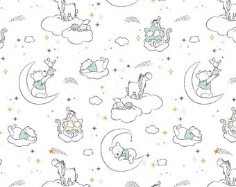 Winnie The Pooh Baby Friends Fabric By The Cut | DIY Face Mask | 100% Cotton | Grey | White | Blue | Pink | Fat Quarter | 1/4 Yard | 1 Yard