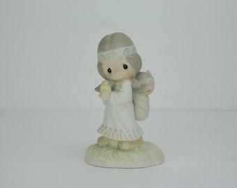 Vintage Precious Moments Figurine | His Burden Is Light | E-1380/G | 1977 | Enesco | Jonathan & David | Porcelain Figure | Statue | Jesus