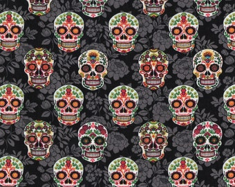 Skulls On Black Floral Fabric By The Cut   DIY Face Mask   100% Cotton   Halloween Print   Fat Quarter   1/4 Yard   1/2 Yard   1 Yard