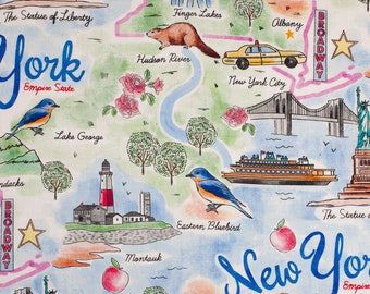 New York State Pride Fabric By The Cut | Cotton DIY Face Mask | NYC Empire State | Statue Of Liberty | Fat Quarter | 1/4 1/2 Yard | 1 Yard