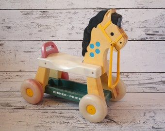 Fisher Price Horse Plastic Ride-on Children's Scooter Push Car Toy Red Green Yellow Blue Accents Black Toddler Pony Ride On Bicycle