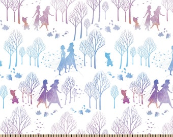 Disney's Frozen Character Silhouette Fabric By The Cut | DIY Face Mask | 100% Cotton | Elsa | Anna | Olaf | Fat Quarter | 1/2 Yard | 1 Yard