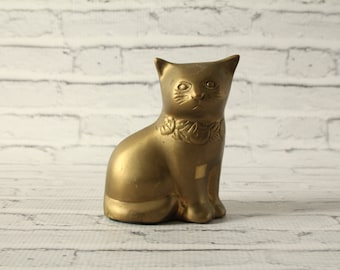 Vintage Brass Cat With Patina Mid-Century Animal Figurine Decorative Statue Weighted Heavy Use As A Bookend Home Decor Room Decoration Kitty