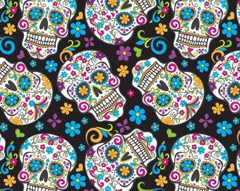Black Folkloric Skulls Fabric By The Cut   DIY Face Mask   100% Cotton   Halloween Print   Fat Quarter   1/4 Yard   1/2 Yard   1 Yard