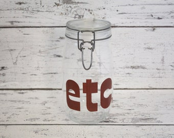 "Vintage Glass ""etc"" Canister Wire Bail Closure Brown Lettering Embossed Raised Lettering Graphics Kitchen Storage Made In France"