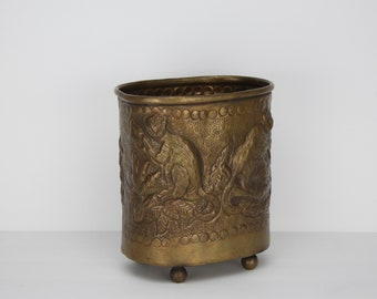 Vintage Brass Planter | Castilian Imports | Monkeys