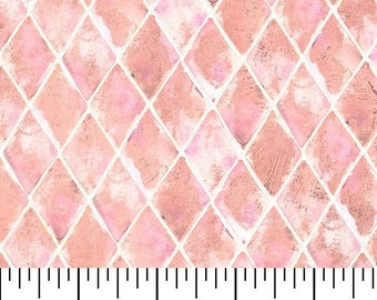 Pink Diamond Fabric By The Cut | DIY Face Mask | 100% Cotton | White | Fat Quarter | 1/2 Yard | | 1 Yard | David Textiles