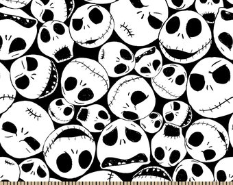 Jack Skellington Skulls Fabric By The Cut | DIY Face Mask | 100% Cotton | Halloween Print | Fat Quarter | 1/4 Yard | 1/2 Yard | 1 Yard