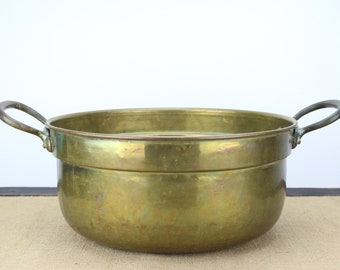 Vintage Extra Large Brass Pot Kitchen Cooking Item Double Brass Handles Copper Hardware Food Prep or Decorative Home Decor Item Planter