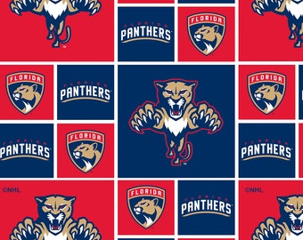 Florida Panthers Fabric By The Yard | DIY Face Mask | Cotton | NHL Hockey | Blue | White | Red | Fat Quarter | 1/2 Yard | 1 Yard