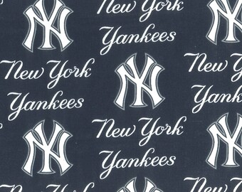 New York Yankees Fabric By The Cut | Cotton DIY Face Mask | MLB Baseball | Blue | White | Red | Fat Quarter | 1/2 Yard | 1 Yard