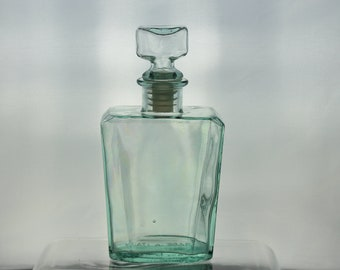 Vintage Italian Aqua Glass Trapezoid Decanter Bottle For Wine Liquor Stopper Closure Design Made In Italy Mancave Decor Antique Farmhouse