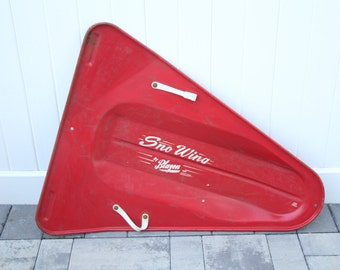 Vintage Sno-Wing Metal Snow Sled Model by Blazon Children's Toy Red Metal White Painted Graphics Plastic Handle Steering Triangle Steel