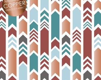 Emma & Mila Metallic Arrows Fabric By The Cut | DIY Face Mask | 100% Cotton | Copper | White | Teal | Fat Quarter | 1/2 Yard | 1 Yard
