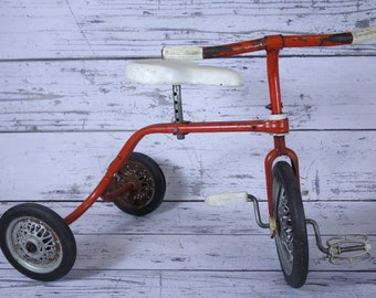 RARE Vintage Brevettata Red Metal Tricycle Made in Italy Hard Plastic Seat White Handlebar Grips & Foot Pedals Childrens Trike Biemme