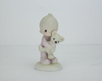 Vintage Precious Moments Figurine | Baby | Bear | Jesus Loves Me | E-1372/B | 1978 | Enesco | Jonathan & David | Porcelain Figure | Statue
