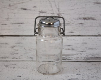 Vintage Glass Canister Shaker Wire Bail Clear Silver Metal Top Large Holes Cheese Condiments Kitchen Storage Decor