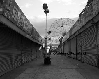 Brooklyn Deserted Winter at Luna Park Coney Island Beach Photography Black & White Photo Images New York NYC Photograph