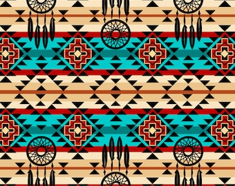 Dream Catchers Fabric By The Cut | DIY Face Mask | 100% Cotton | Native American | Geometric | Fat Quarter | 1/4 Yard | 1/2 Yard | 1 Yard